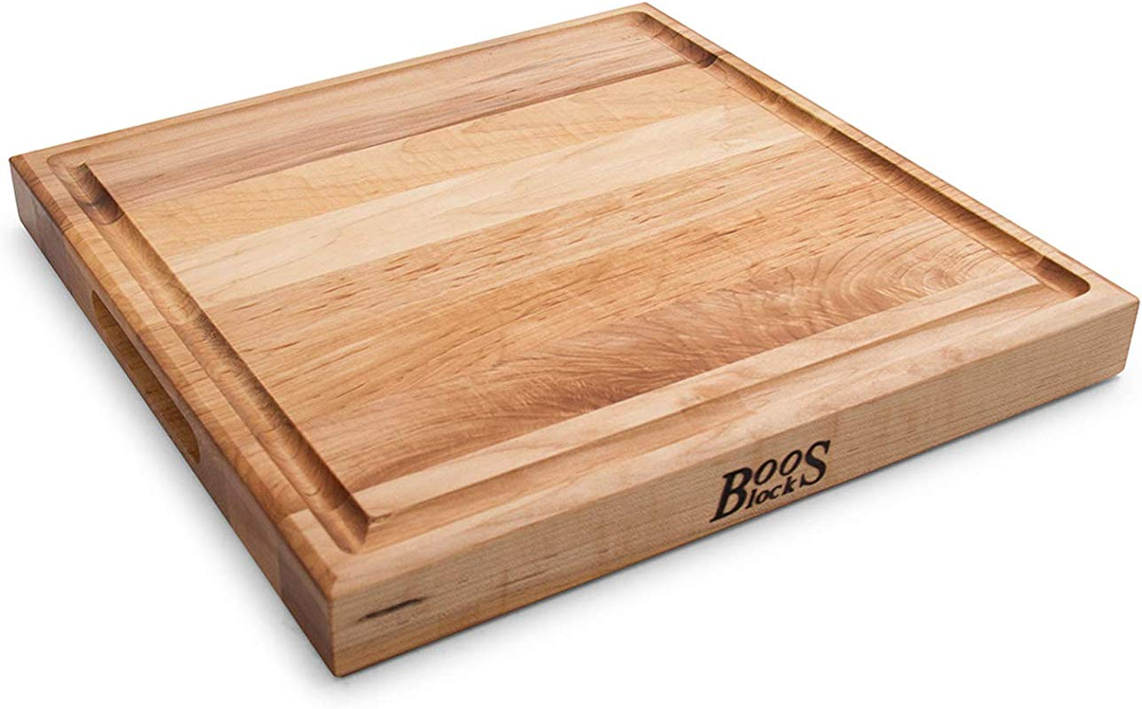 John Boos Block CB1052 1M1515175 Maple Wood Square Cutting Board With Juice Groove 15 Inches X 15 Inches X 1 5 Inches