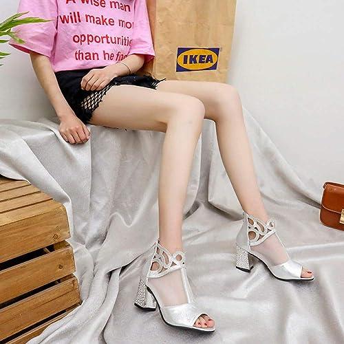 PINGXIANNVSandales Les Les Les dames Femmes élégant Talons Sandales D'été Femme Talons épaisses Sandales Femme Sexy Dentelle Strass Parti Chaussures Chaussures Or Argent