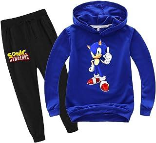 SUPFANS Conjunto de sudadera y pantalones deportivos Sonic The Hedgehog para niños