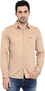 Mufti Khaki Solid Spread Collar Full Sleeves Cotton Shirt