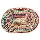Sadivi Alfombra reversible de yute y algodón, multicolor tejida a mano, colores pueden variar (2 x 3 pies de algodón+yute (ovalado)