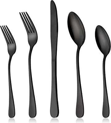 LIANYU Black Silverware Flatware Set for 2, 10-Piece Stainless Steel Cutlery Set, Mirror Finished, Dishwasher Safe