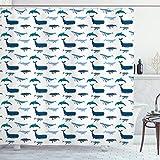 ABAKUHAUS Wal Duschvorhang, Schwimmen Meerestiere, Wasser Blickdicht inkl.12 Ringe Langhaltig Bakterie & Schimmel Resistent, 175 x 200 cm, Dunkelblau Weiß