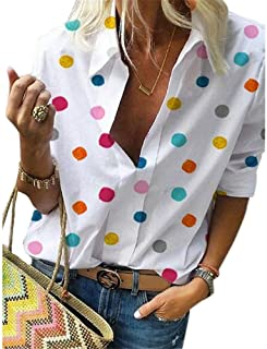 Hapeisy Womens Autumn Winter Plus Size Polka Dot Print Blouse Casual Tee Tops Female Long Sleeve Shirt