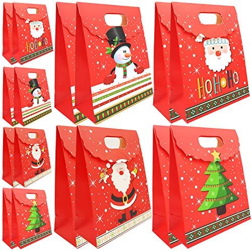 16 Pcs bolsa de regalo de Navidad, con diseño de velcro son un embalaje ideal para sus regalos de Navidad (8 bolsas grandes + 8 bolsas pequeñas)