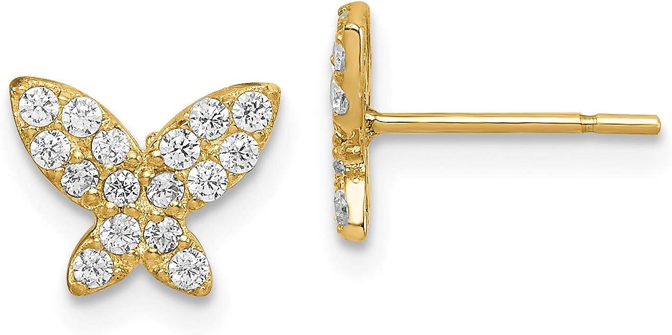 14k Madi K Manufacturer OFFicial shop Butterfly CZ Earrings Post Cheap SALE Start