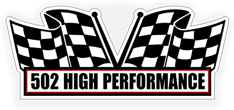 Air Cleaner Sticker Decal - 502 High Performance for V8 Pro Steet, Race, ZZ502 Crate Motor Classic Muscle Car, Compatible with Chevrolet Chevy - 5x2.25 inch