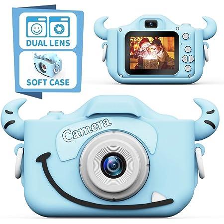 子供用カメラ,TONDOZENキッズカメラ トイカメラ 2000万画素 1080P HD 動画カメラ キッズデジカメ USB充電 デュアルレンズ 自撮可能 子どもデジタルカメラ 2.0インチIPS画面 4倍ズーム 子供の日 誕生日プレゼント 日本語説明書付き (ブルー)