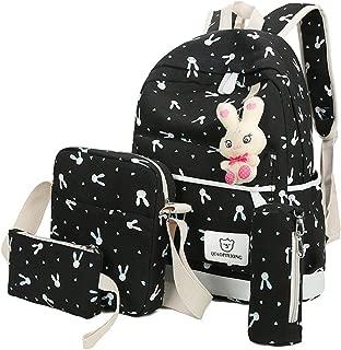 Four-Pieces Rabbit Printed Backpack, Female Shoulder Bag Handbag Wallet Packet Haversack with Rabbit Accessories