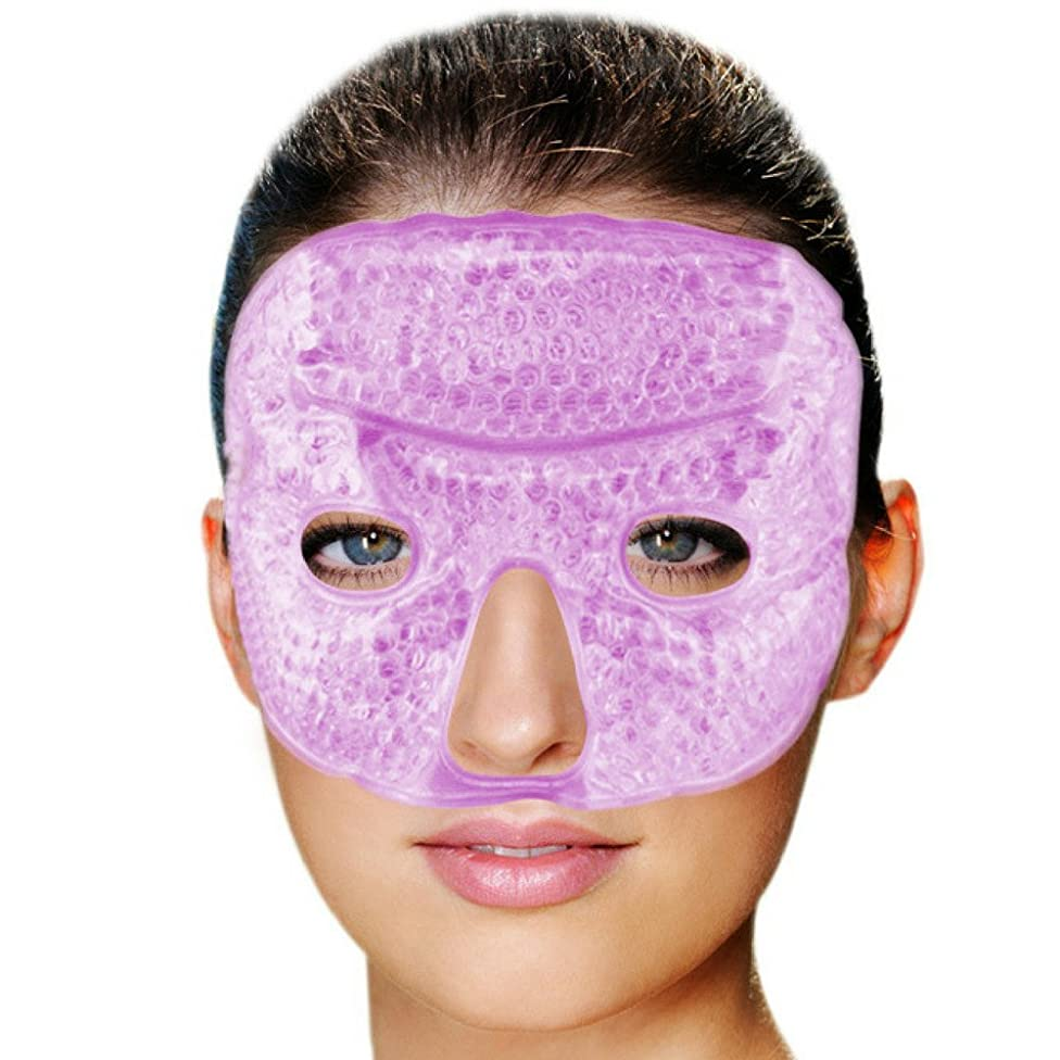 FOMI Hot Cold Gel Bead Facial Eye Mask   Lavender Scented   Ice Mask for Migraine Headache, Stress Relief   Reduces Eyes Puffiness, Dark Circles   Fabric Back   Freezable, Microwavable