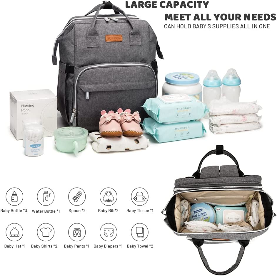 Diaper Bag Backpack,3 in 1 Baby Multifunction Travel Backpack with Portable Changing Station,Pacifier Case and Built-in USB,Large Unisex Baby Bags,Large Capacity,Waterproof(Grey)