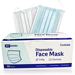 50 Pcs Disposable Face Mask, 3 Ply Protection Safety Mask with Earloop, Bulk Earloop Masks for Indoor and Outdoor Use, Comfortable to Wear