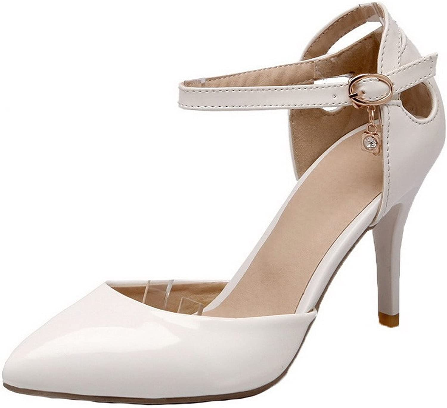 WeiPoot Women's Buckle High-Heels Patent Leather Solid Closed-Toe Sandals, EGHLH005616