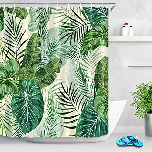 LB Palmblatt Duschvorhang 180cm Breit x 200cm Hoch Grünes tropisches Laub,Creme Bad Gardinen mit Vorhanghaken Extra Lang Polyester Wasserdicht Anti Schimmel Badezimmer Vorhang