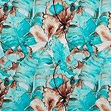 PINSOLA Tela de sudadera, por metros, tejido liso | certificado Öko-Tex 100 | tejido para sudaderas, vestidos | diferentes estampados | 1 unidad = 0,5 m | Mintgüne Monstera Product Name