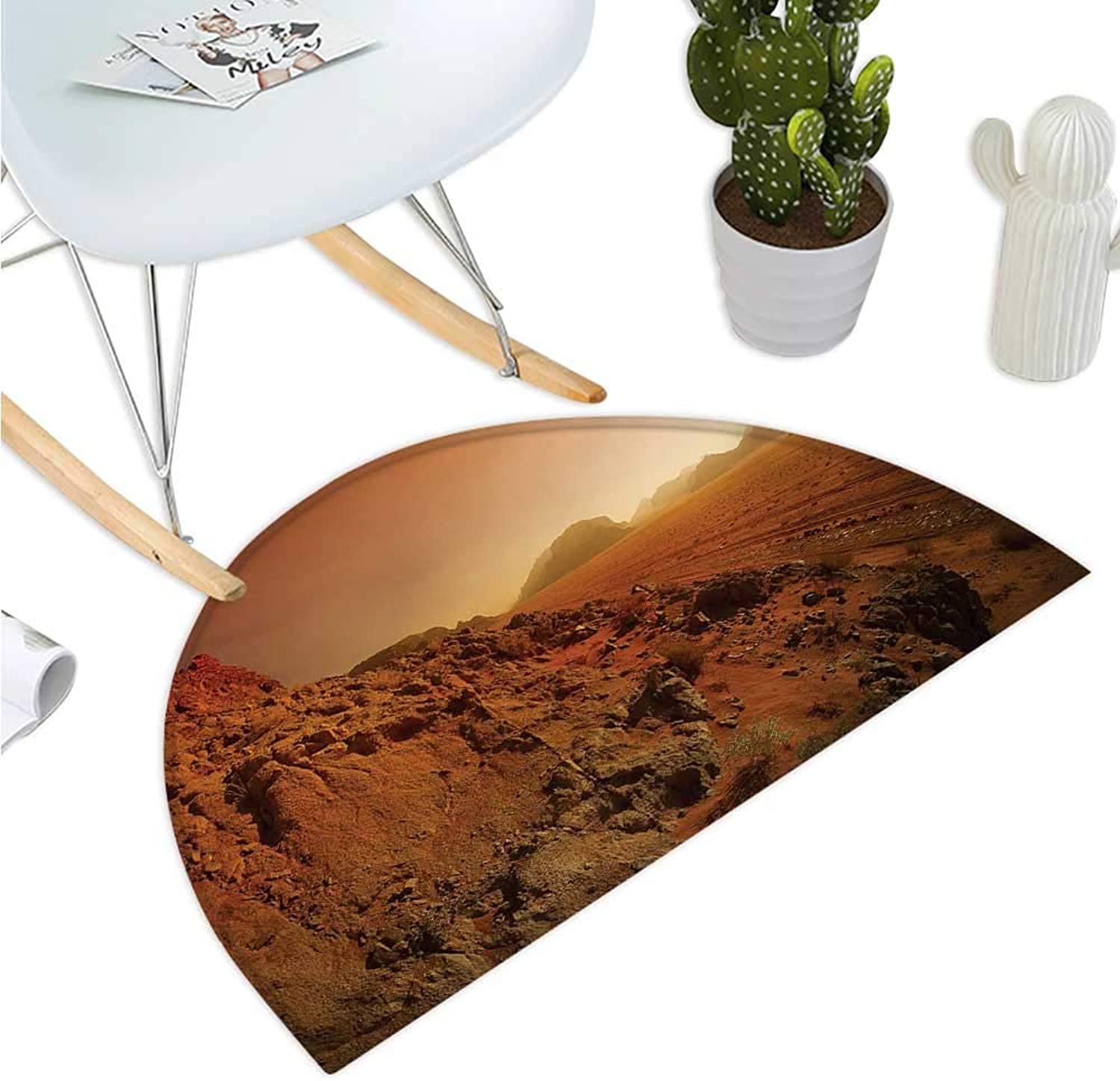 Galaxy Semicircular Cushion Landscape from The Movie Fantastic Fictional Galaxy Clash Pattern Sunset Mountains Bathroom Mat H 39.3  xD 59  Brown Yellow