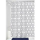 iDesign Dotted Honeycomb Duschvorhang Textil   Duschvorhang aus Stoff mit verstärkten Löchern   Badewannenvorhang mit Waben-Muster   Polyester taupe/navyblau