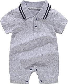 الوليد بيبي بوي قطعة واحدة رومبير شهم تتسابق قصيرة الأكمام طوق بذلة شورت الملابس الصيفية الكلية (Color : Gray, Size : 66CM)