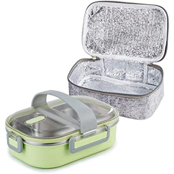 Lille Home 22oz Stainless Steel Leakproof 2-Compartment Lunch Box, Bento Box, Portion Control Food Container with An Insulated Lunch Bag, Perfect Holiday Gift (Green)