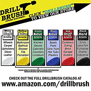5 Inch Diameter Ultra Stiff Nylon Scrub Brush Used for Heavy Duty Brick and Stone Cleaning with quick change shaft by Drillbrush