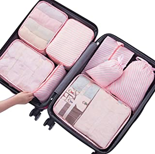 Belsmi 8 Set Packing Cubes - Waterproof Mesh Compression Travel Luggage Packing Organizer with Shoes Bag (Pink Stripe)