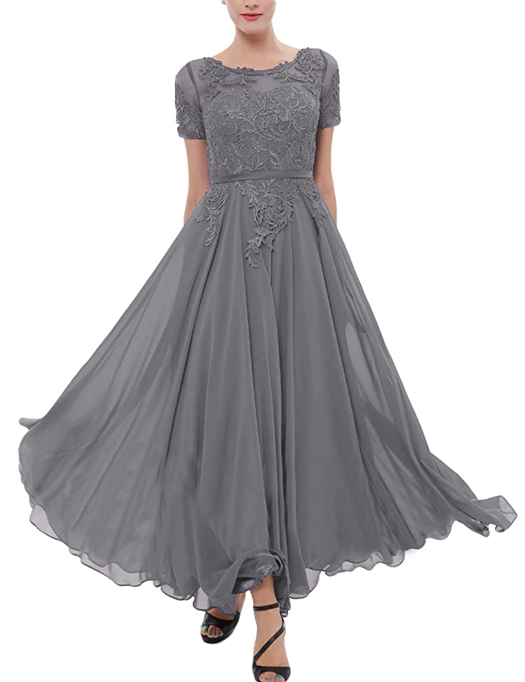 Miao Duo Women's Lace Chiffon Bridesmaid Dress Tea Length Cocktail Party Gown MDPM34