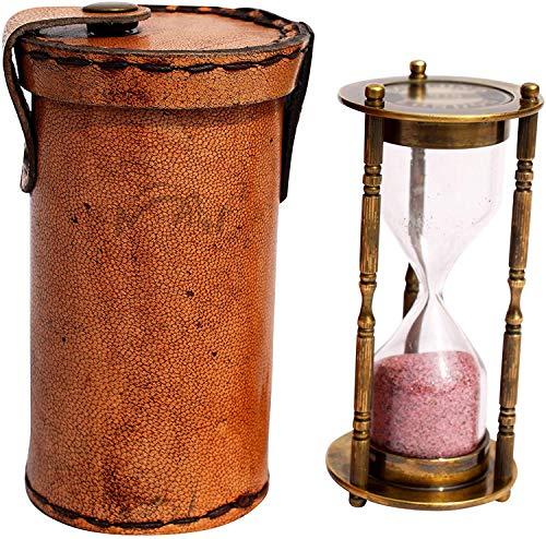 1Minute Antik Deko Messing Sand Timer mit Sicherheit Leder Fall. c-3071