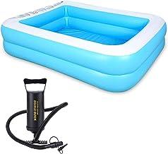 HYwang Piscina Inflable 155 * 108 * 46 CmVerano Familia Niños Bañera Plegable Fiesta Piscina con Inflador (Azul)