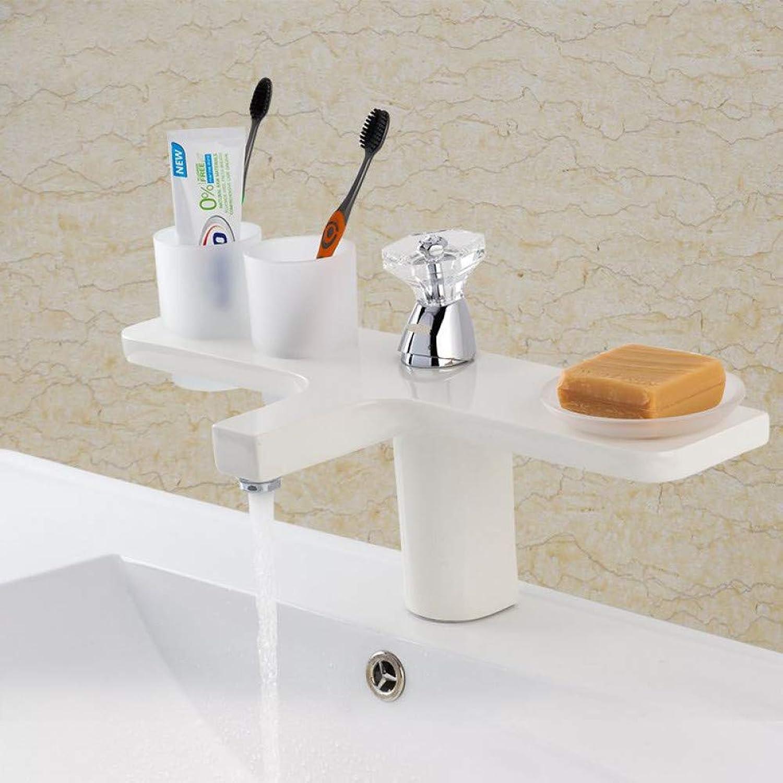 ZHFJGKR&ZL Spültischarmatur Wei Becken Wasserhahn Baisn Waschtischmischer Wasserhhne Messing Deck Mount Waschtischmischer Bad Mischer