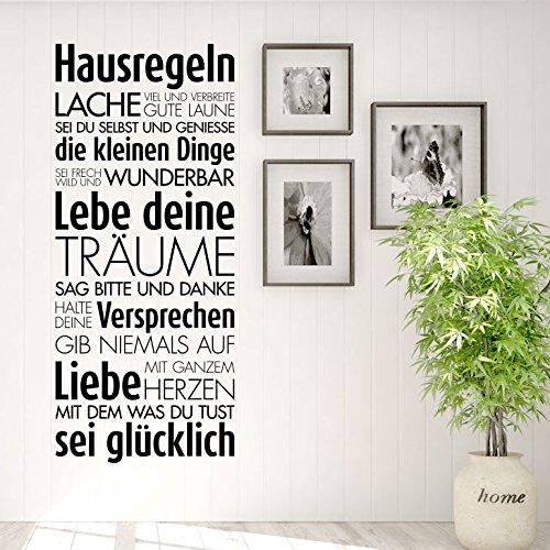 Grandora Wandtattoo Hausregeln Lache Lebe Liebe I schwarz (BxH) 58 x 135 cm I Familie Flur Küche Wohnzimmer Sticker Aufkleber Wandsticker Wandaufkleber W5452