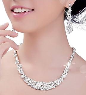 StillCool Trendy Wedding Bridal Prom Rhinestone Crystal Necklace Earrings Jewelry Set (Necklace+Earrings Set)