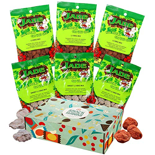 Snack Hawaii Jade Li Hing Mui Box - Tasty Classic Red and White Hawaiian Candies - Sweet, Sour and Salty Dried Plums, Real Local Island Heritage Brand - Premium Gift Box, Pack of 6 Wrapped Snacks
