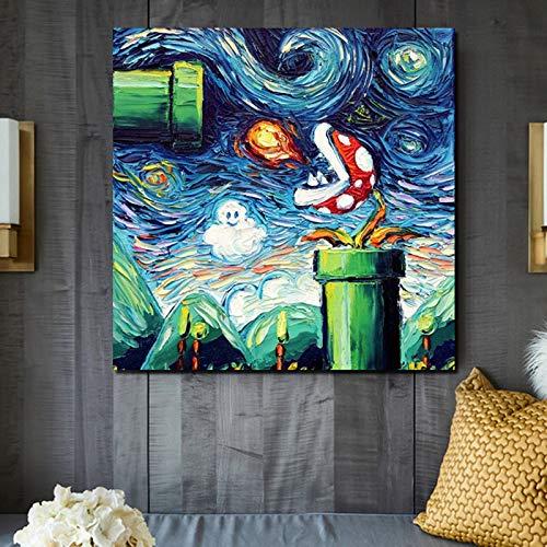 KWzEQ Berühmte Maler nordische Plakat Tapete Leinwanddruck Wohnzimmer Hauptdekoration Ölgemälde Moderne Wandkunst,Rahmenlose Malerei,70x70cm
