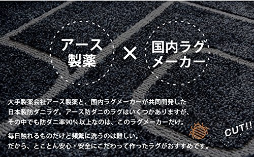 日本製アース防ダニラグ円形140×140cm洗える国産床暖房ホットカーペット対応ネイビー6114051201