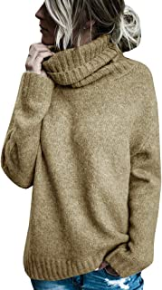 Sherrylily Womens Turtleneck Long Sleeve Knit Sweaters Loose Cut Side Pullover Jumpers