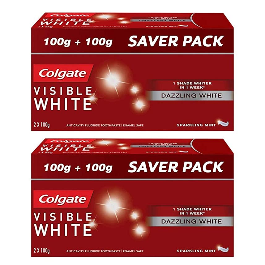 正規化執着評判Colgate Visible White Dazzling White Toothpaste, Sparkling Mint - 200gm (Pack of 2)
