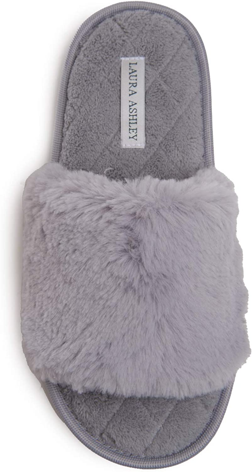 Laura Ashley Ladies Faux Rabbit Plush One Band Slippers, Open Toe Indoor Outdoor House Slippers