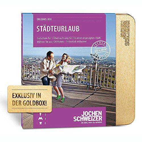 Jochen Schweizer Hotelgutschein 'STÄDTEURLAUB FÜR 2', 1 Übernachtung für 2 Personen inkl. Frühstück, über 100 Stadthotels in Europa, Geschenk-Box für Entdecker