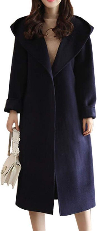 UUYUK Women Quilted Hooded Strappy Slim Longline Overcoat Pea Coat