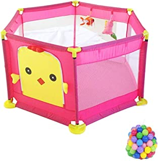LXDDP Playpen Safety Baby Playpen with Balls  Hexagon Anti-rollover Toddlers Playard  Portable Pink Child Room Divider  128 64cm