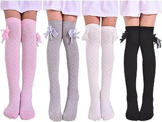 4 Pairs Little Girl's Knee High Socks Over Calf Kids...