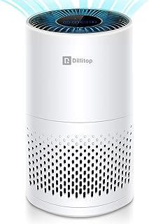 Dillitop 空気清浄機 4段階風量調節 時間設定機能 LEDライト付き 超静音 省エネ 集塵 脱臭 タバコ 脱臭機 PM2.5 花粉 ホコリ対策 微粒子99.9%除去 適用面積12-20畳対応 ホワイト(日本語説明書)