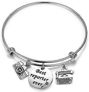 Journalist Gift Best Reporter Ever Bracelet Court Reporter Gift Writer Jewelry Editor Gift