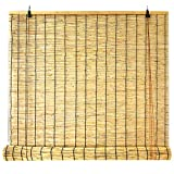 Persianas Enrollables De Bambú, Venecianas De Madera Cortina De Caña Natural,Tejidas A Mano Ecological Sunshade Partition Curtain, Para Exteriores E Interiores(50x60cm/20x24in)