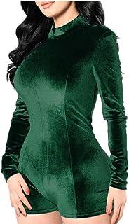 maweisong 女性の長袖ビロードのbodyconクラブショートロンパースジャンプスーツ