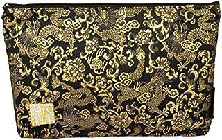 千糸繍院 西陣織 金襴 ポーチ/御朱印帳ケース(裏地付き) 黒金龍 (Mサイズ)