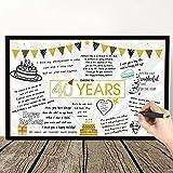 Tarjeta de Felicitación de Mensaje de Feliz Cumpleaños de Estrella Globo Gigante Negro y Dorado Tarjeta de Decoración de Fiesta Cartel Alternativo de Libro de Invitados (40 Cumpleaños)