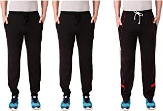 Cynak Men's Cotton Trackpants | Lowers with Both Side Zipper Pockets (Multicolor) (Large Size)