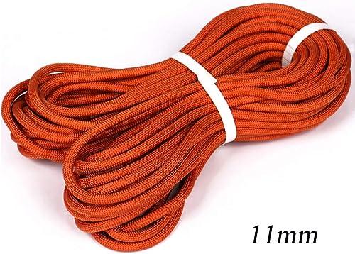LIZIPYS Cordes Corde de sécurité Cordes statiques d'extérieur Convient pour Le développement en Descente extérieur Le Travail aérien Φ11mm (0.43in) Orange