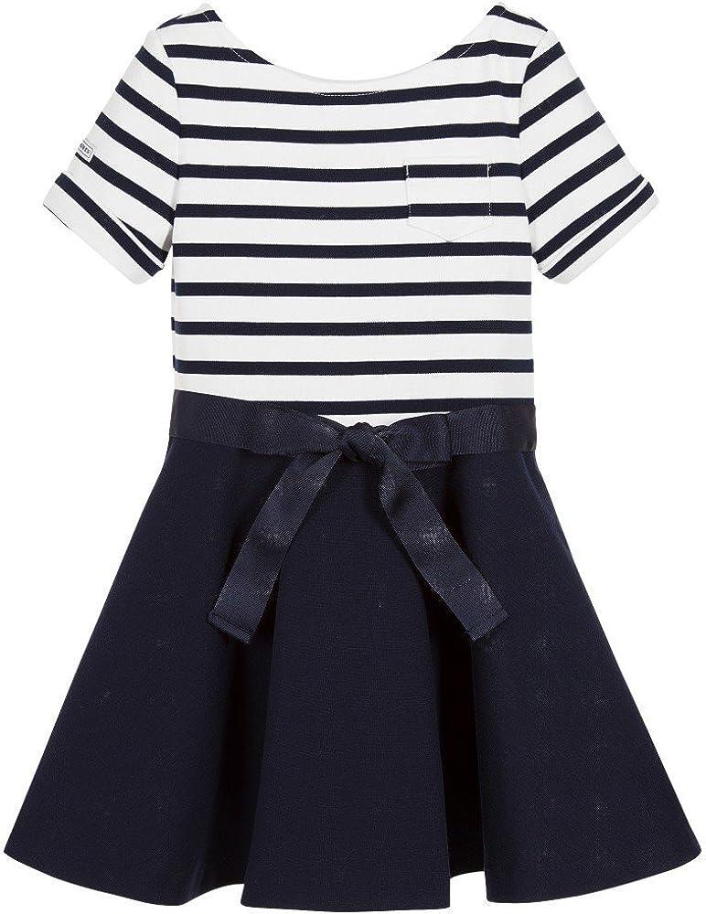 Ralph Lauren Polo Girls Ponte Knit Striped Ruffle Dress X-Large 16 Navy Blue